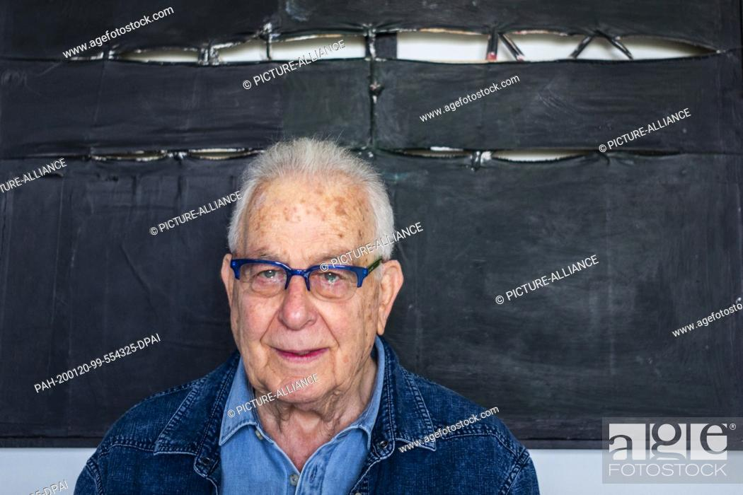 """Stock Photo: 20 January 2020, Israel, Haifa: Naftali Fürst, an 87-year-old Holocaust survivor, stands in his home. Under the title """"""""Survivors."""