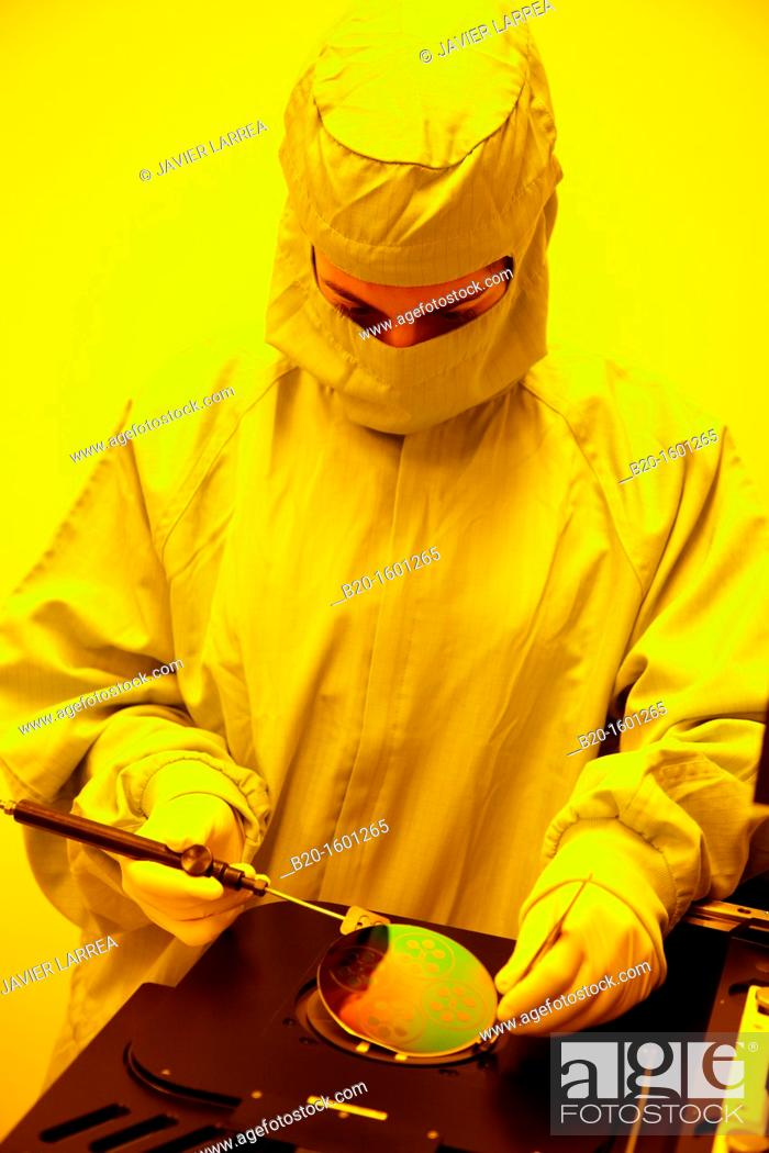 Stock Photo: Silicon wafer, Automated Mask alignment system, photolithography processes, cleanroom, Microelectronics and Microsystems Unit.