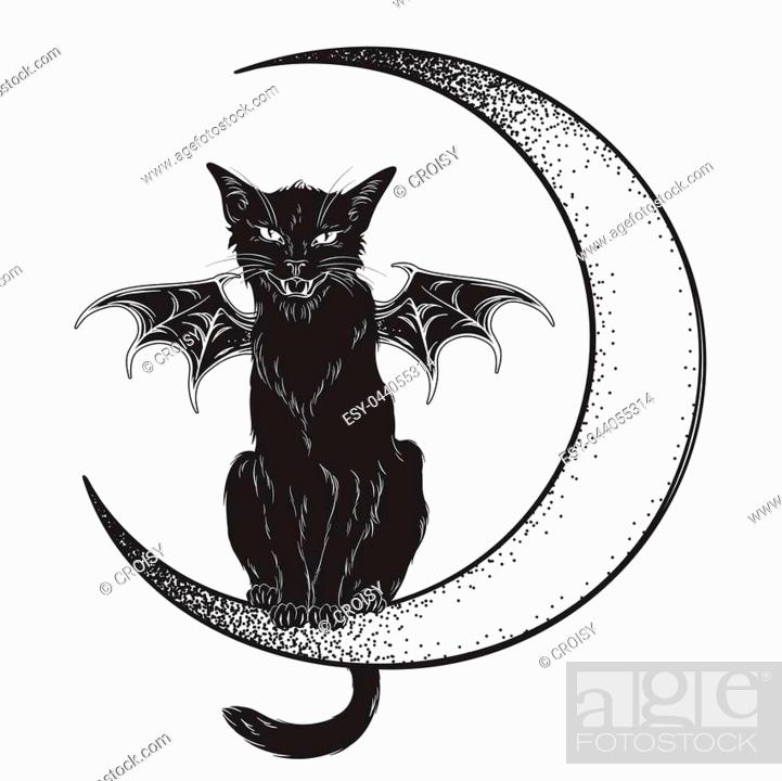 black cat with bat wings sitting on the crescent moon isolated line art and dotwork vector stock vector vector and low budget royalty free image pic esy 044055314 agefotostock https www agefotostock com age en stock images low budget royalty free esy 044055314