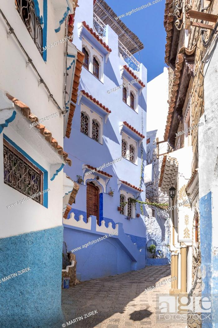 Stock Photo: Blue Alley in Chefchaouen, Morocco, North Africa, Africa.