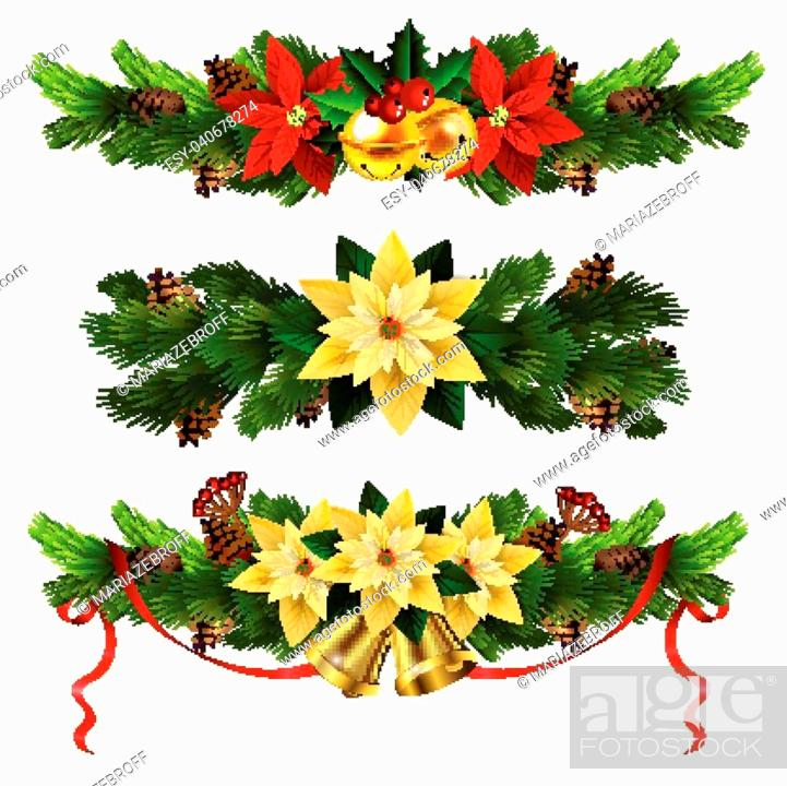 Stock Vector: Christmas decoration set with evergreen treess pine cones and poinsettia isolated vector.