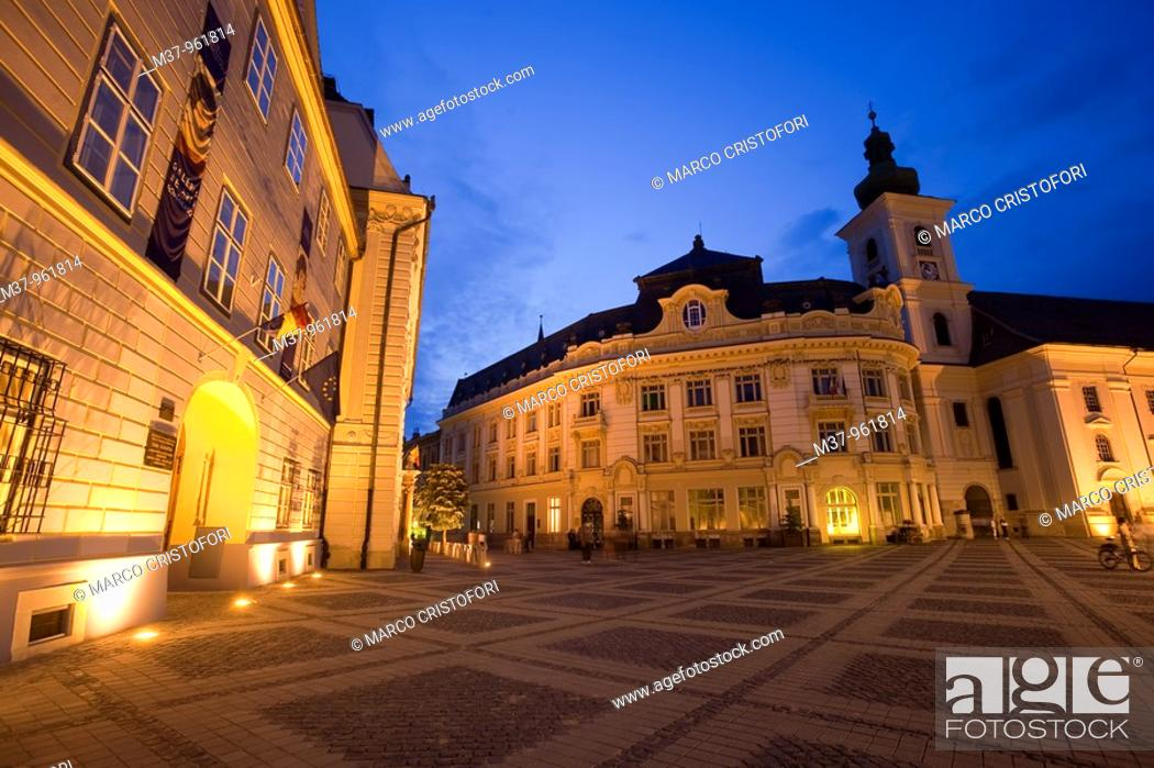 Stock Photo: Mare squre  Sibiu  Transylvania  Romania.