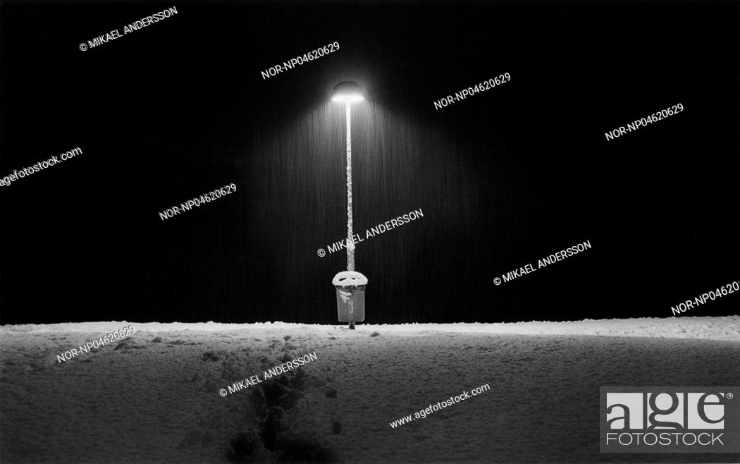 Stock Photo: Streetllight in snow. Stockholm Sweden.