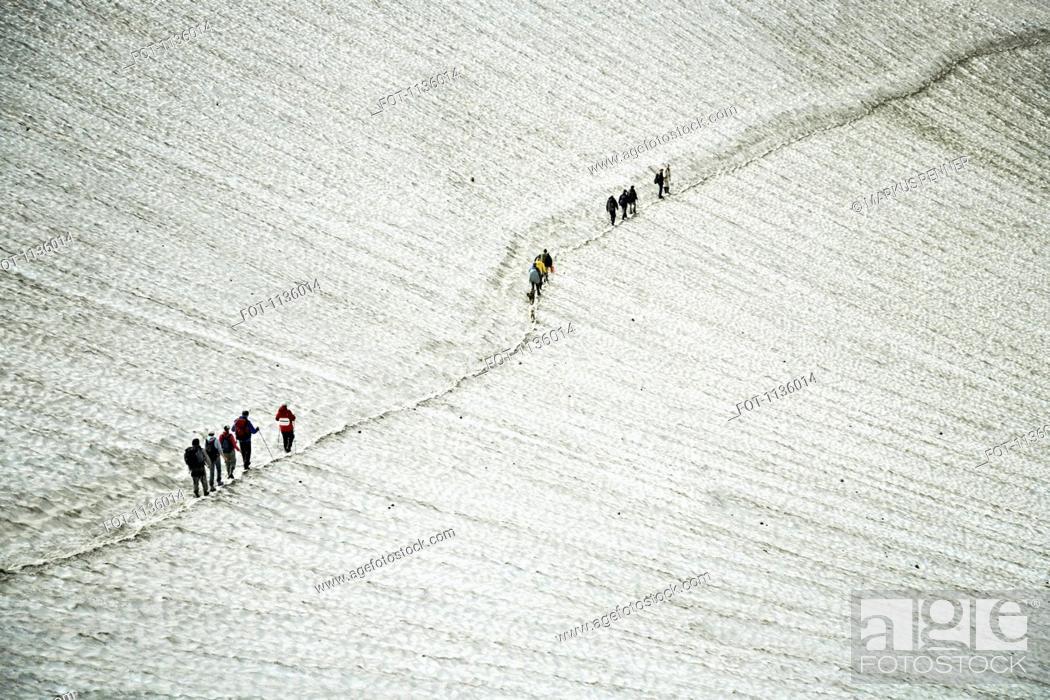 Stock Photo: Hikers ascending the Mutnovsky Volcano, Kamchatka, Petropavlovsk Kamchatsky, Russia.