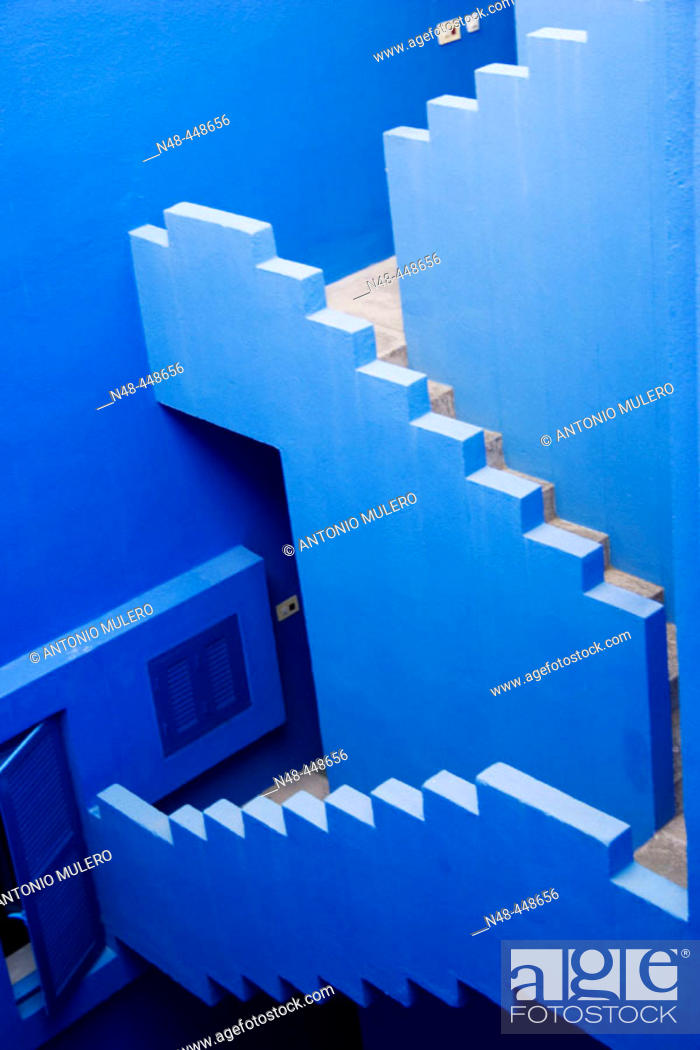 Stock Photo: Blue stairs.