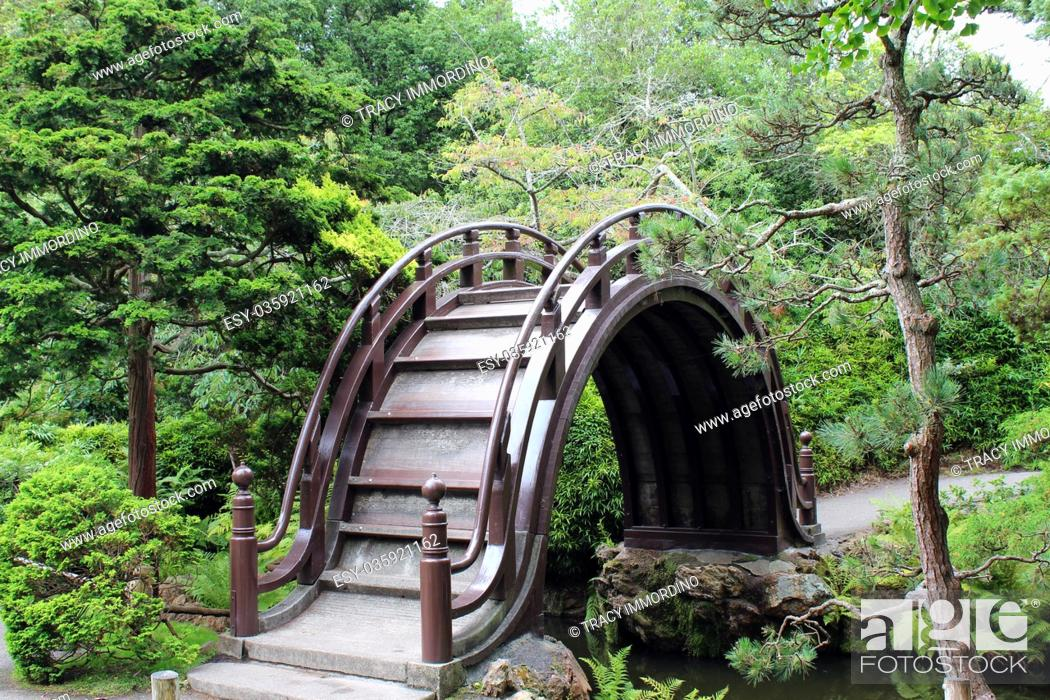 Stock Photo: An unusual high arched pedestrian bridge over a stream in a landscaped Japanese Garden in California, USA.