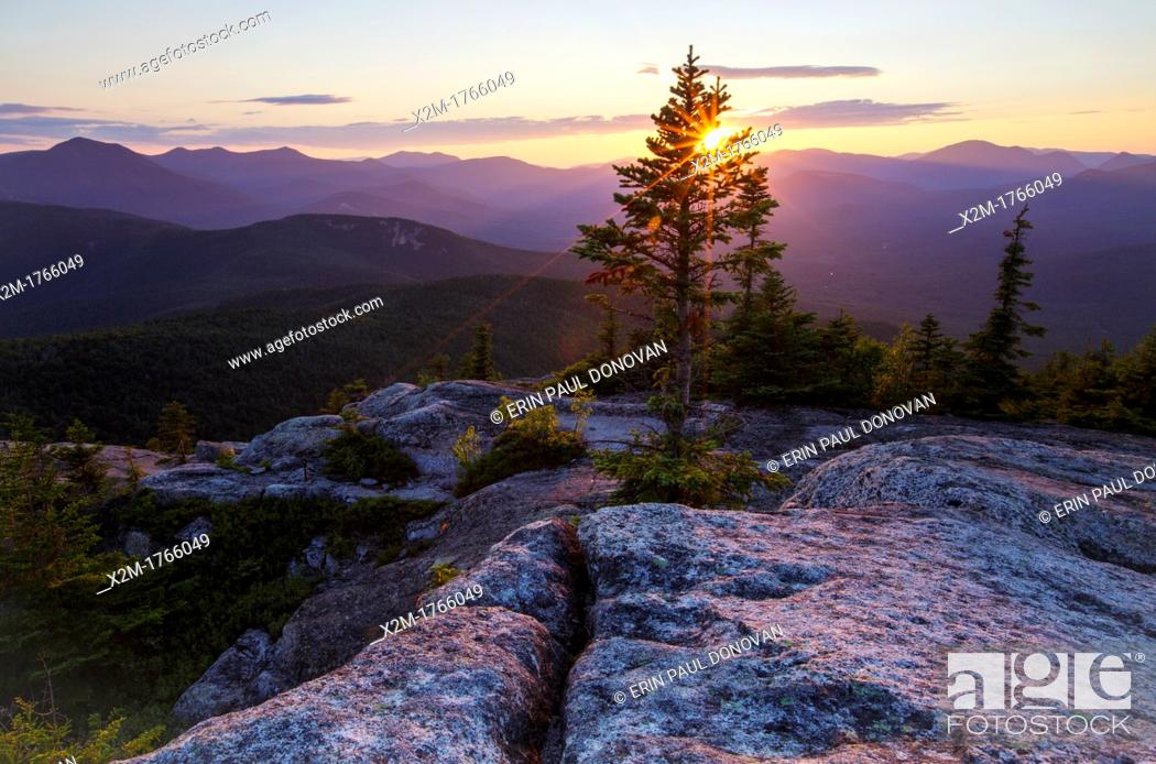 Stock Photo: Sunset from Middle Sister Mountain in Albany, New Hampshire USA during the summer months.