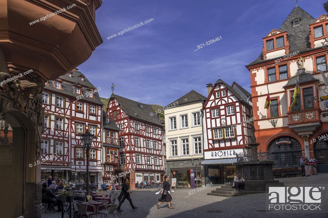 Stock Photo: Germany, Moselle, Bernkastel Kues. The Moselle is a river flowing through France, Luxembourg, and Germany. It is a left tributary of the Rhine.