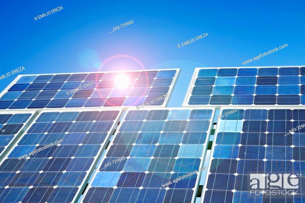 Stock Photo: Solar panels. Lleida, Catalonia, Spain.