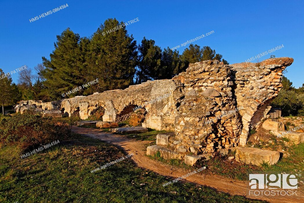 Stock Photo: France, Bouches du Rhone, Fontvieille, road of Caparon, Aqueduct of Barbegal, Gallo Roman vestige of the 4th century.