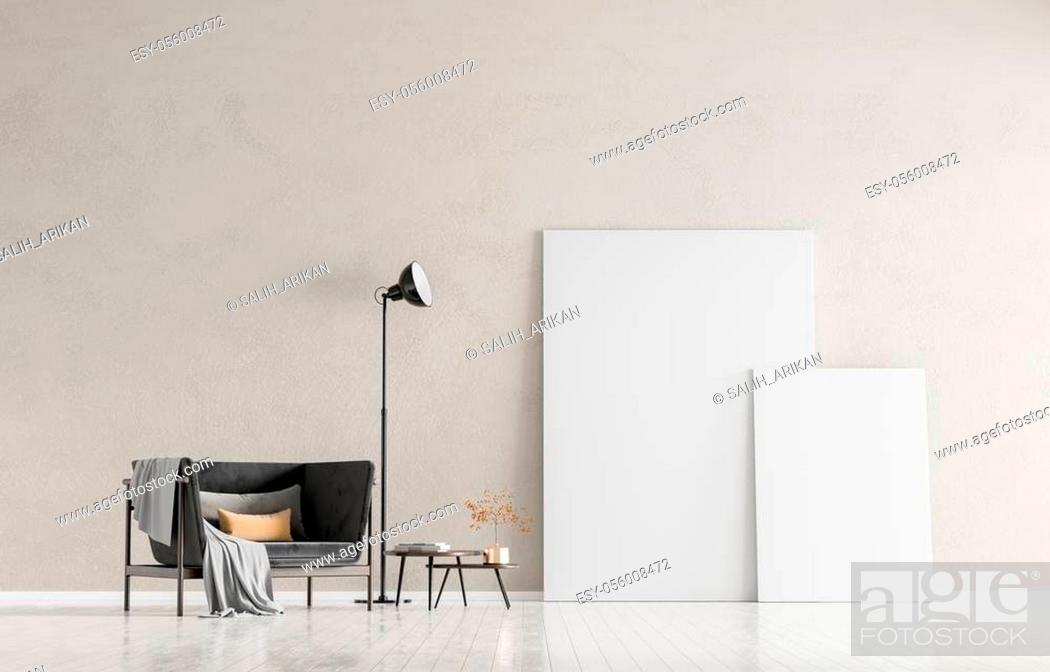Stock Photo: Mock up poster frames in scandinavian style interior with arcmhair. Minimalist interior design. 3D illustration.