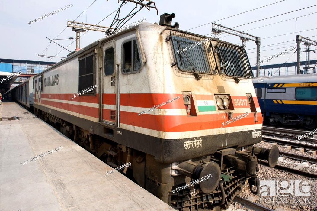 Stock Photo: Indian Railway trains arrive at a train station in New Delhi. India.