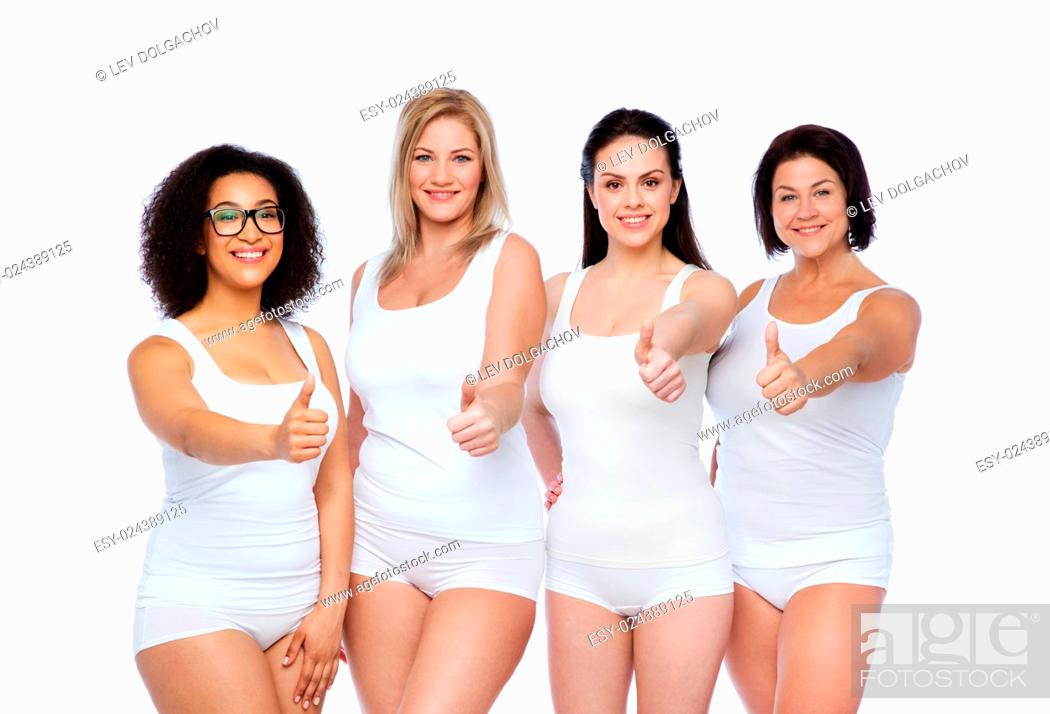 Stock Photo: gesture, friendship, beauty, body positive and people concept - group of happy different women in white underwear showing thumbs up.