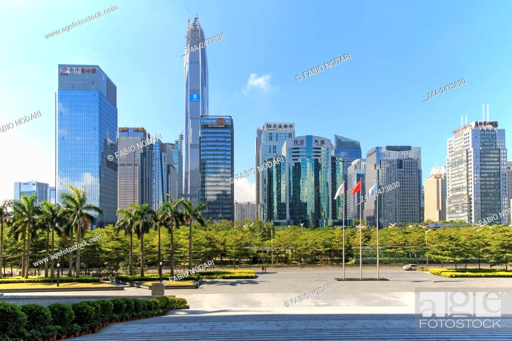 Stock Photo: Shenzhen, China - August 19, 2015: Shenzhen skyline as seen from the Stock Exchange building with the KK100, the second tallest building of the city.