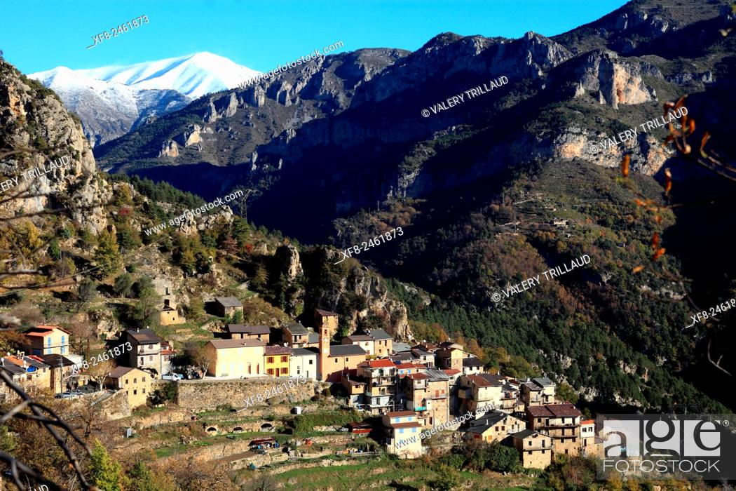 Stock Photo: Village of Berghe superieur, Roya valley, Alpes-Maritimes, Mercantour national park, France.