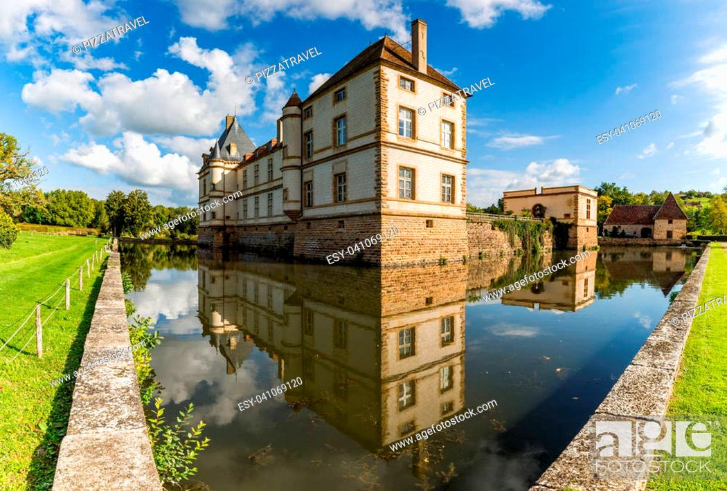 Stock Photo: The moated Cormatin castle in South Burgundy, France.