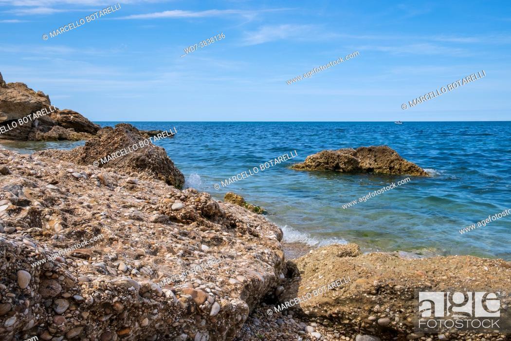 Stock Photo: landscape of adriatic sea coast, in abruzzo, italy.
