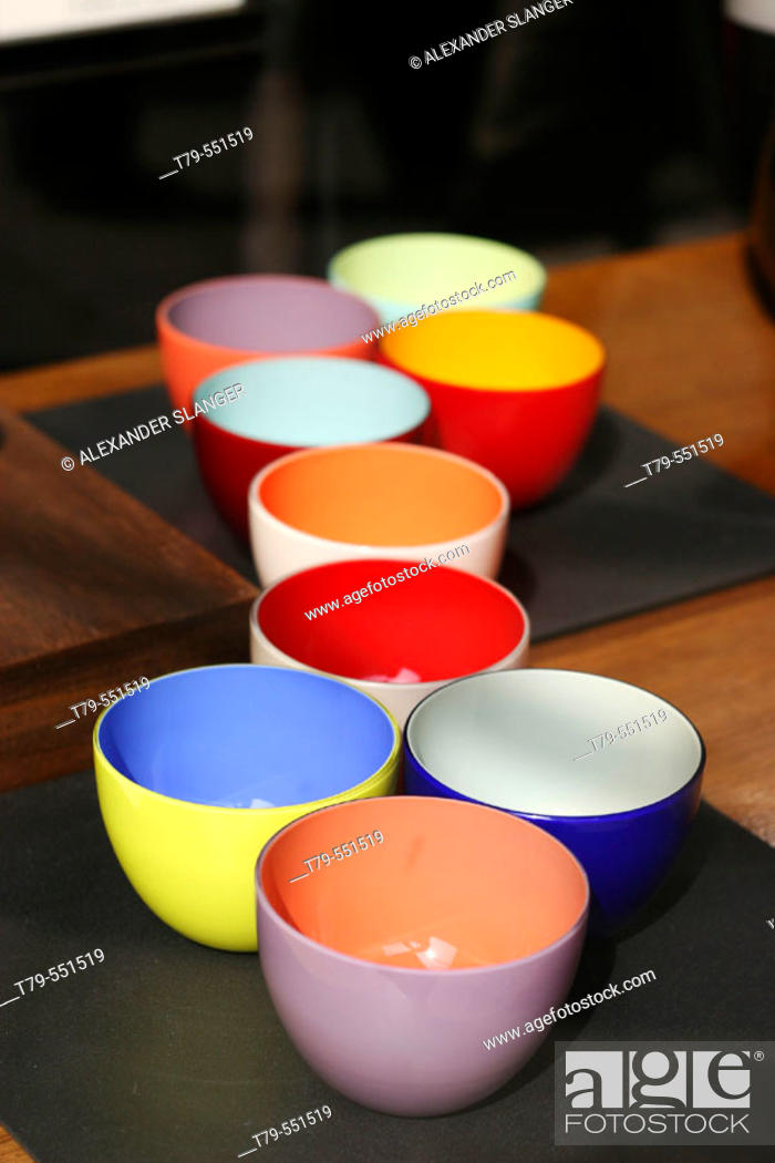 Stock Photo: Colored bowls in shop window. Venice, Italy.