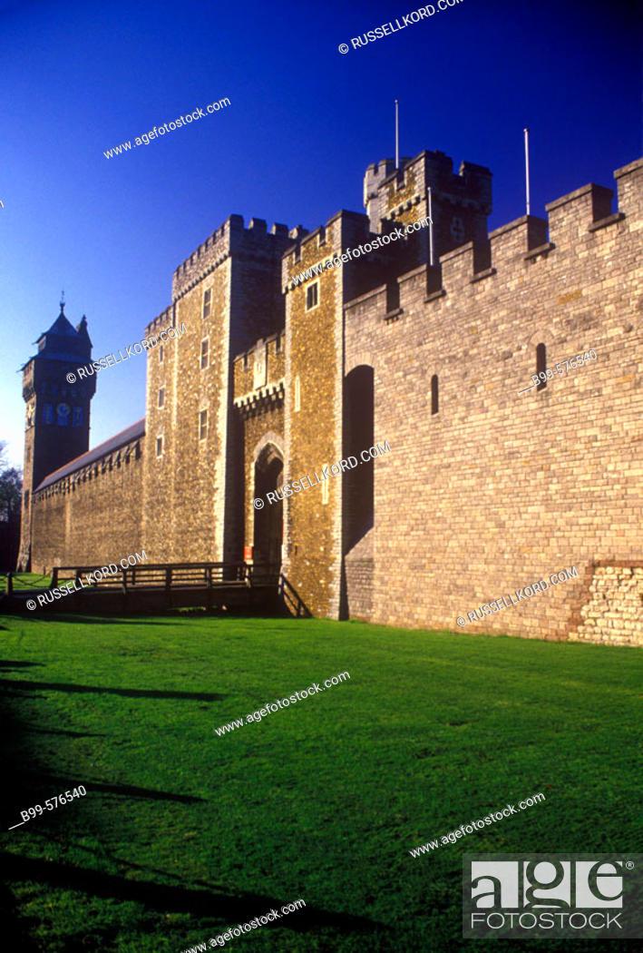 Stock Photo: Cardiff Castle, Wales, Uk.