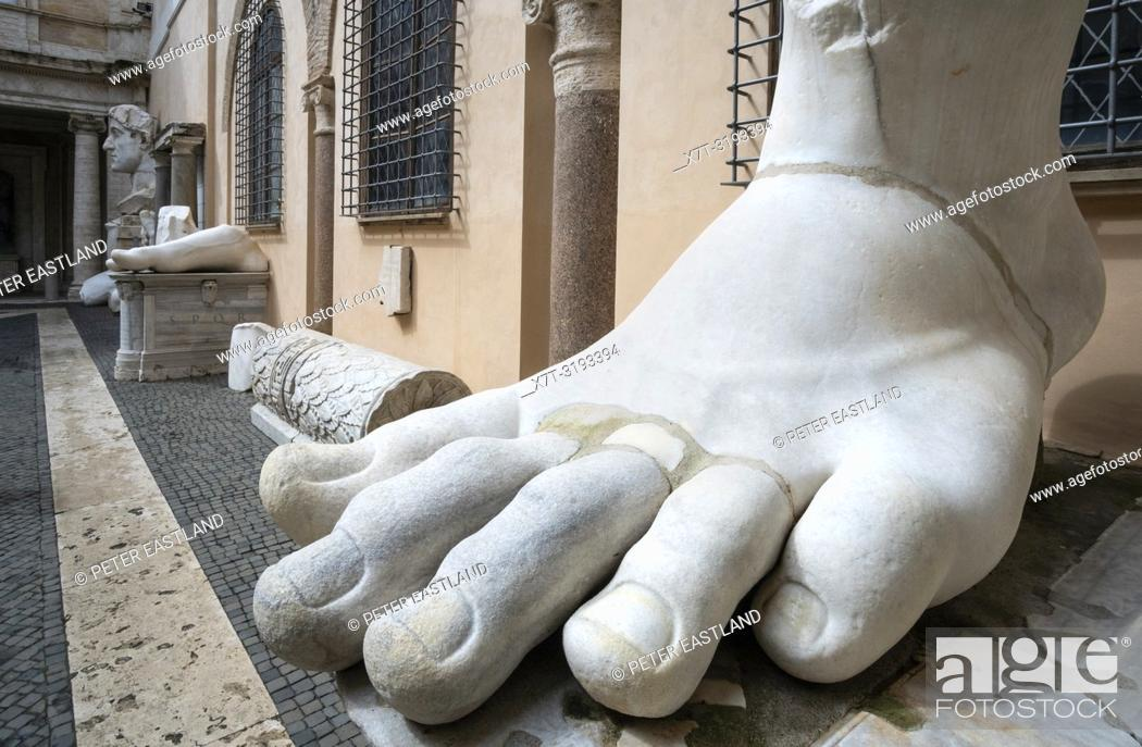 7d56d5578cf Stock Photo - The left foot of the Colossus of Constantine in the courtyard  of the Palazzo dei Conservatori