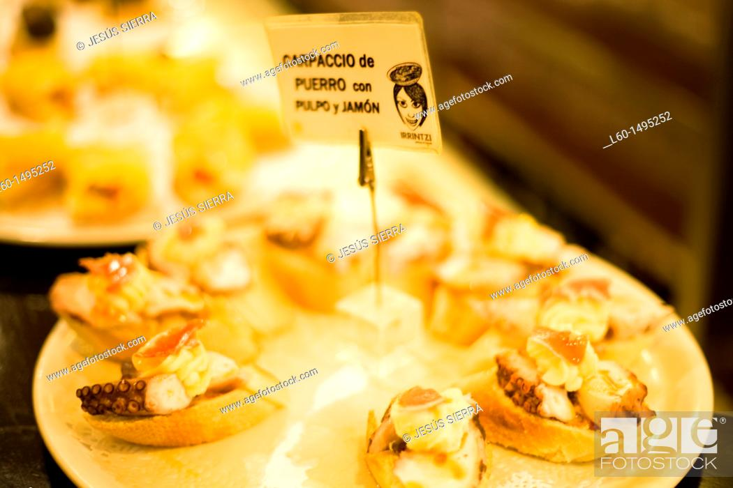 Stock Photo: Pintxos in Bilbao, Biscay, Spain.