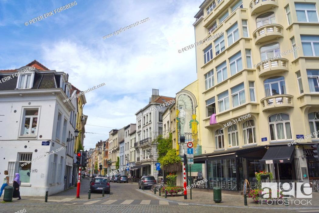 Stock Photo: Rue de Flandre, Vlaamsestraat, Senne district, Brussels, Belgium.