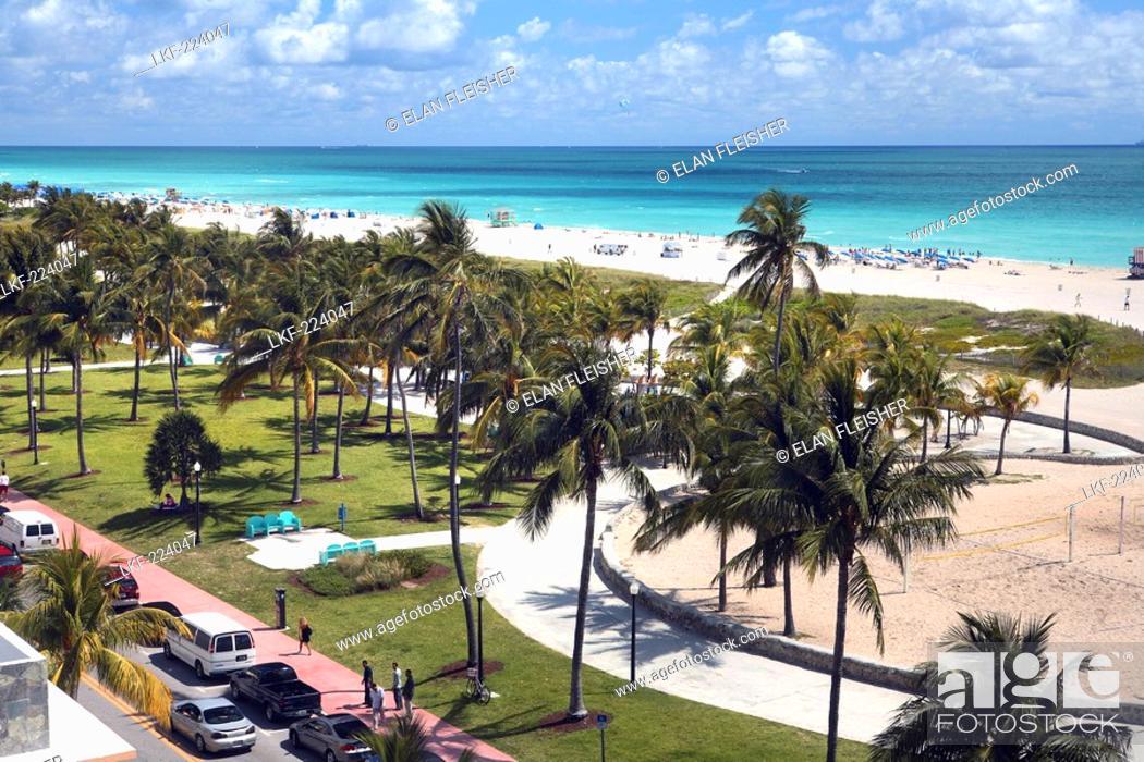 Stock Photo View At The Lummus Park And Beach South Miami Florida Usa