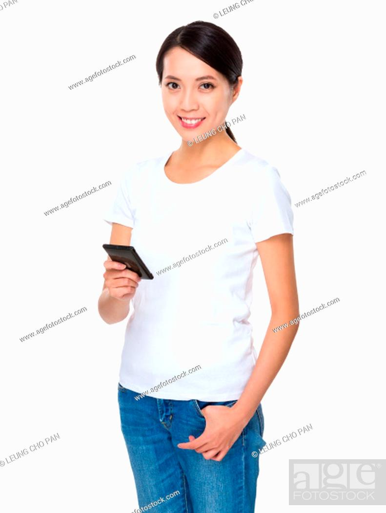 Stock Photo: Asian young woman using cellphone for text mesage.