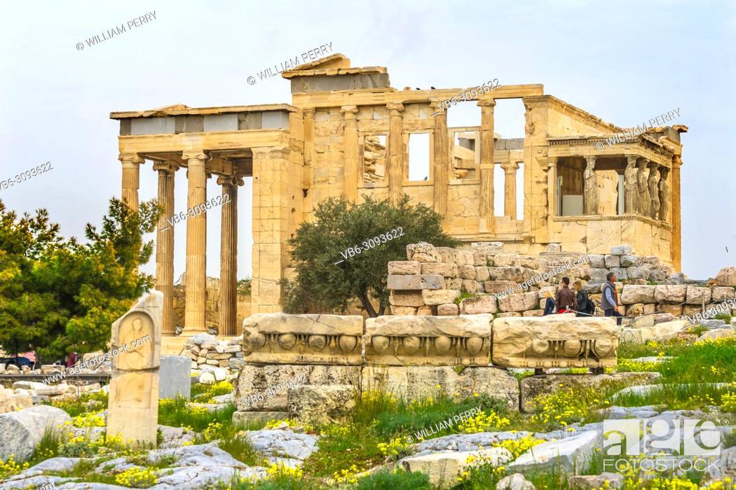 Stock Photo: Ancient Monument Porch Caryatids Ruins Temple of Erechtheion Acropolis Athens Greece. Greek maidens columns Temple of Erechtheion for a former Athenian king.