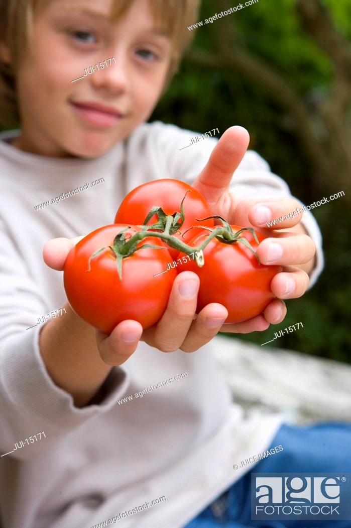 Stock Photo: Boy 5-7 with tomatoes, portrait.