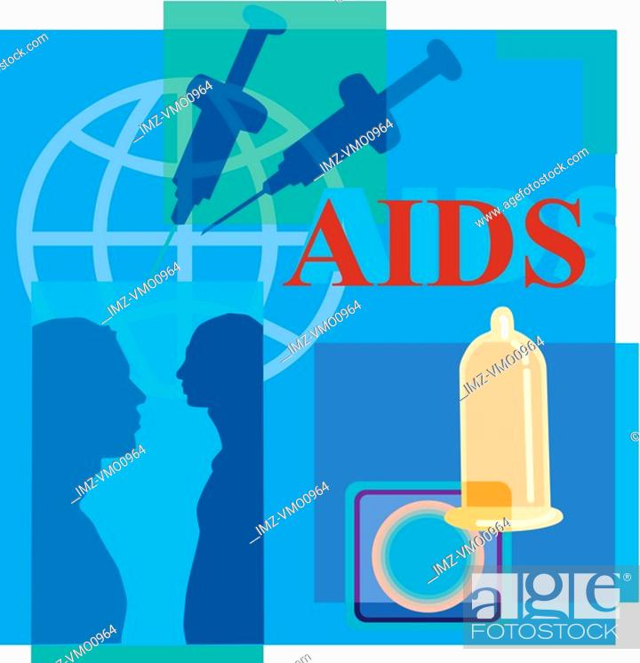 Stock Photo: Montage illustration about AIDS containing two men, syringes, globe and condoms.