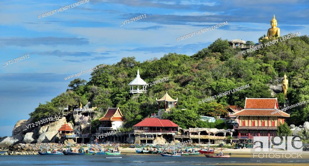 Stock Photo: Khao Tao beach and temple, Hua Hin, Thailand.