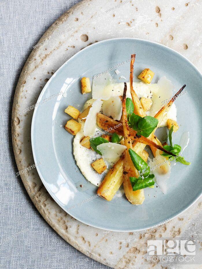 Stock Photo: Truffled parsnip salad.