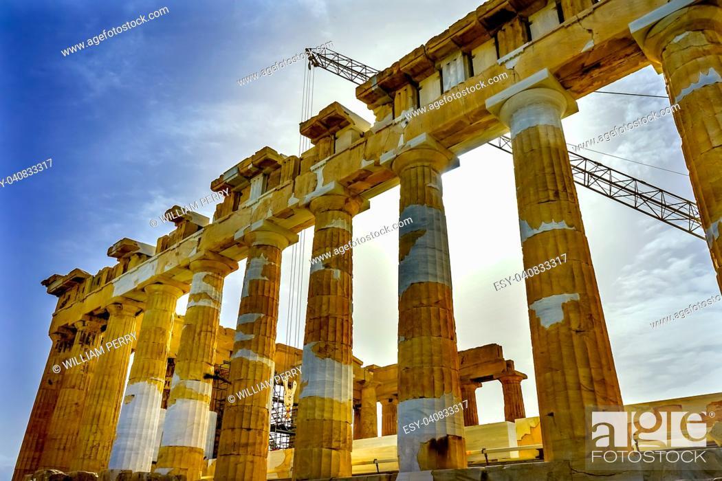 Imagen: Sun Morning Parthenon Acropolis Athens Greece. Temple to Athena on Acropolis. Created 438 BC.