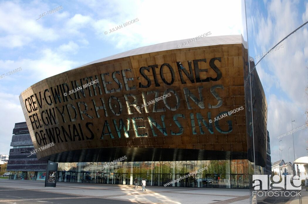 Stock Photo: The Wales Millennium centre, Canolfan Mileniwm Cymru in Cardiff reflected in the water tower.