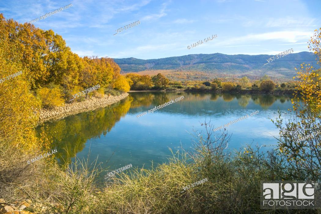 Stock Photo: El Salmoral lake. Pradena del Rincon, Madrid province, Spain.