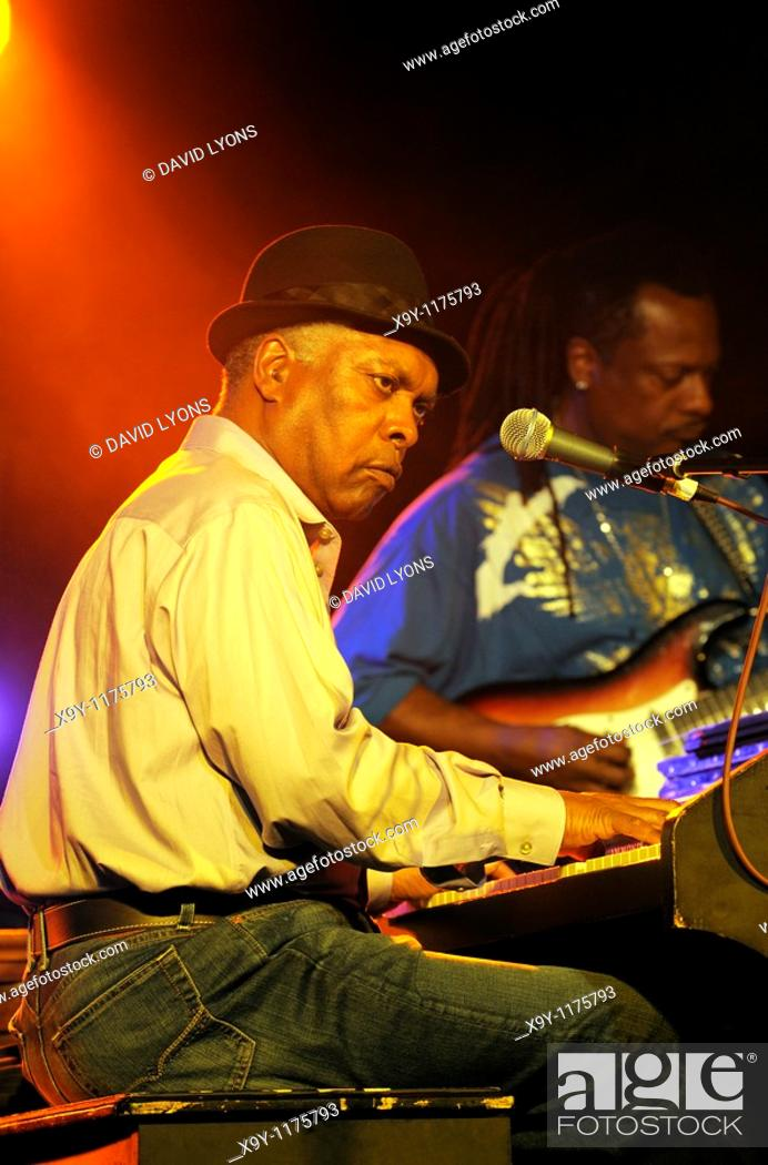 Stock Photo: Booker T  Jones, US blues singer musician plays Hammond B3 organ  Main stage marquee  Maryport Blues Festival, 2010  England.