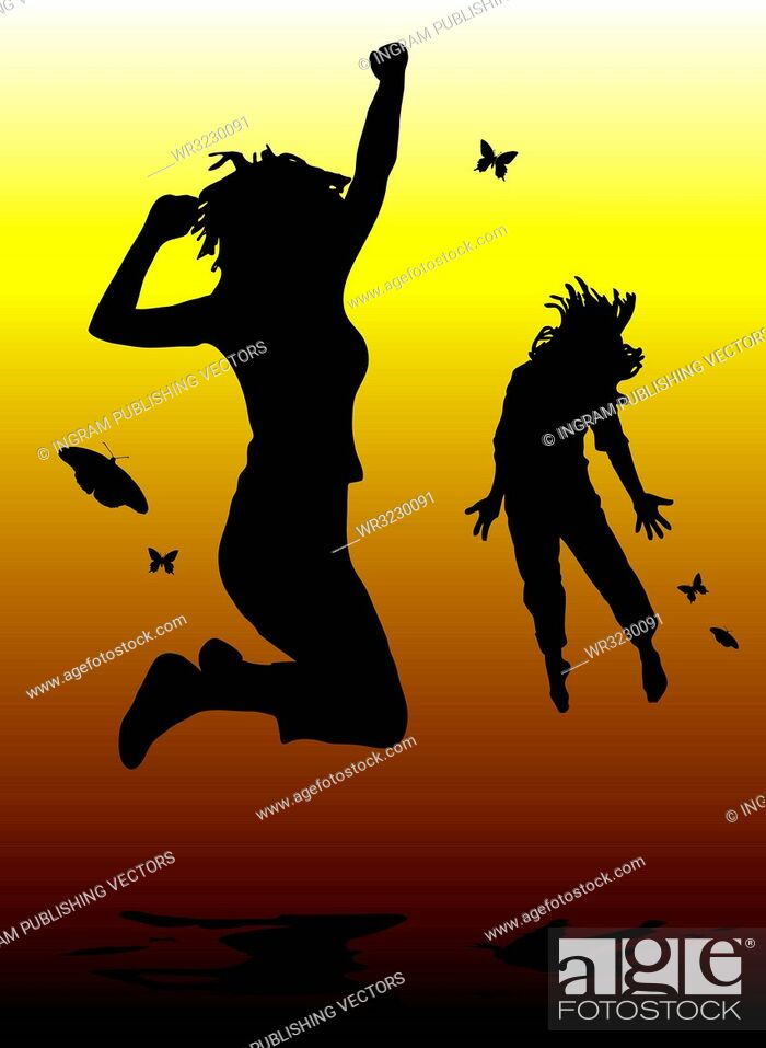 Vector: couple of people dancing with a shadow on a yellow and orange background.