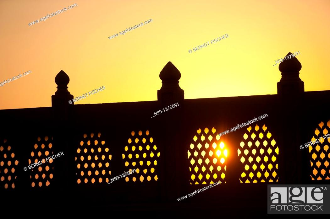 Stock Photo: Carved balustrade, haveli, sunset, Phalodi, Rajasthan, India.