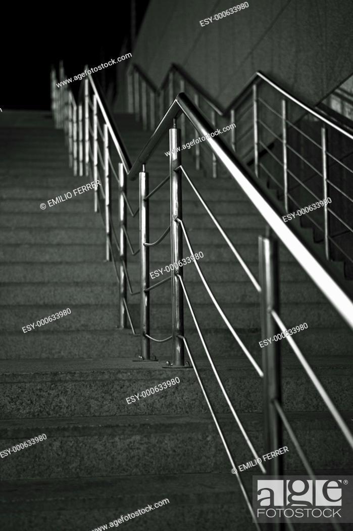 Stock Photo: Steps wit Banister  Barcelona  Spain.