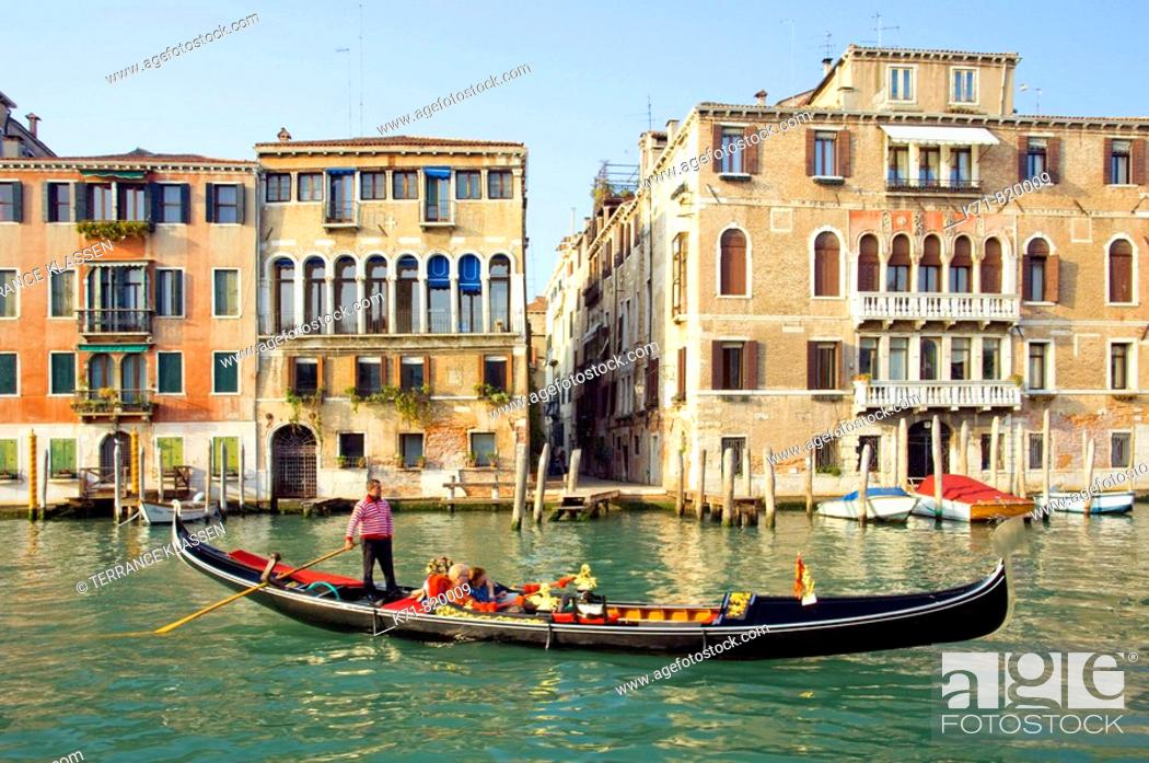 Stock Photo: The Grand Canal of Venice, Italy with Venetian architecture, boats and gondolas.