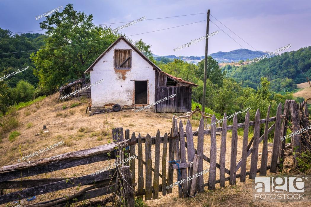 Stock Photo: Small farm between Guca town and Vuckovica village in Lucani municipality, Moravica District of Serbia.