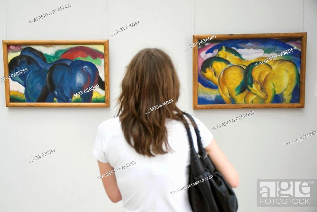 Stock Photo: Horses by Franz Marc in Staatsgalerie. Stuttgart, capital of Baden-Württemberg. Germany.