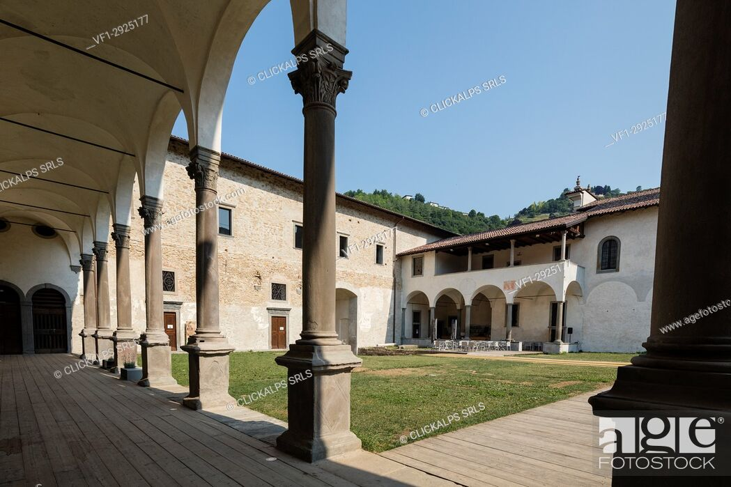 Stock Photo: Courtyard of the historical monastery of Astino, Longuelo, province of Bergamo, Lombardy, Italy, Europe.