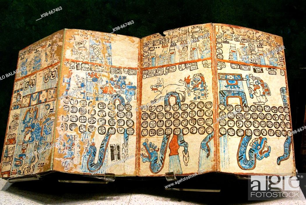Stock Photo: Grolier codex. Maya civilization. National Museum of Anthropology, Mexico D.F. Mexico.