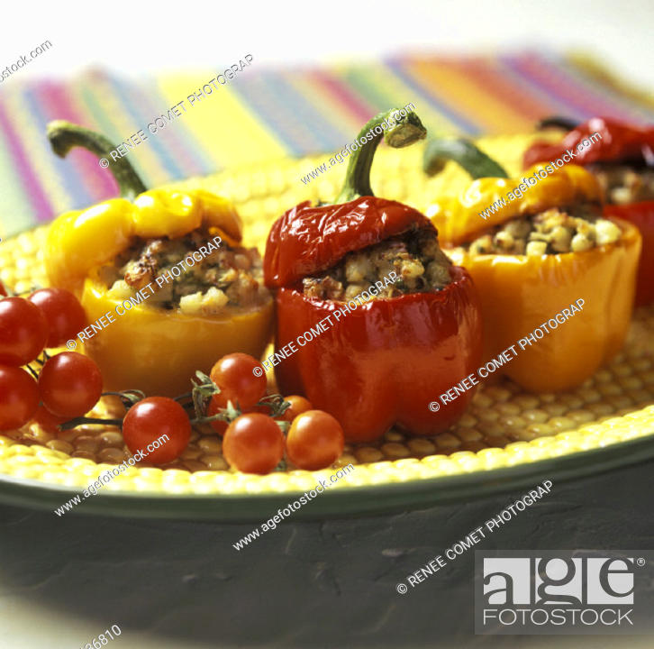 Stock Photo: Pozole and Turkey Stuffed Peppers.