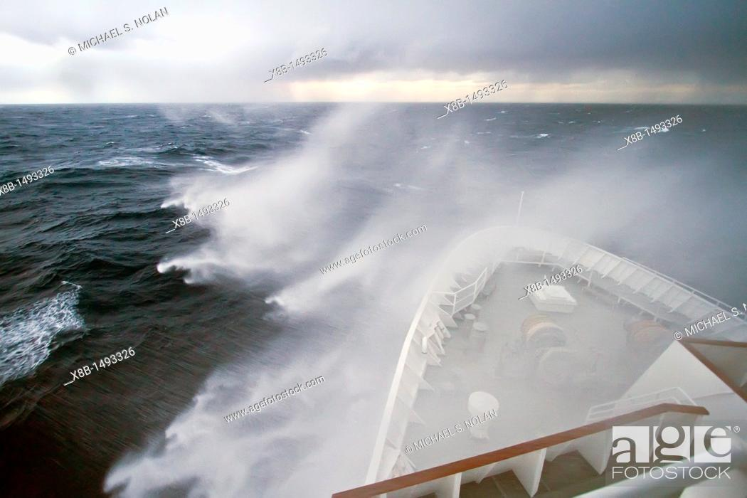 Stock Photo: The Lindblad Expedition ship National Geographic Explorer in heavy seas on expedition in Antarctica MORE INFO Lindblad Expeditions pioneered Antarctic travel in.