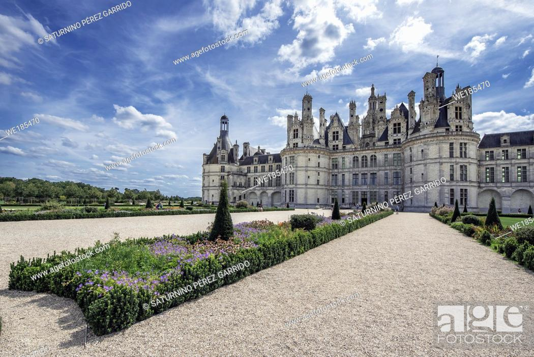 Stock Photo: Detail of part of the gardens of the Chambord Castle in France.