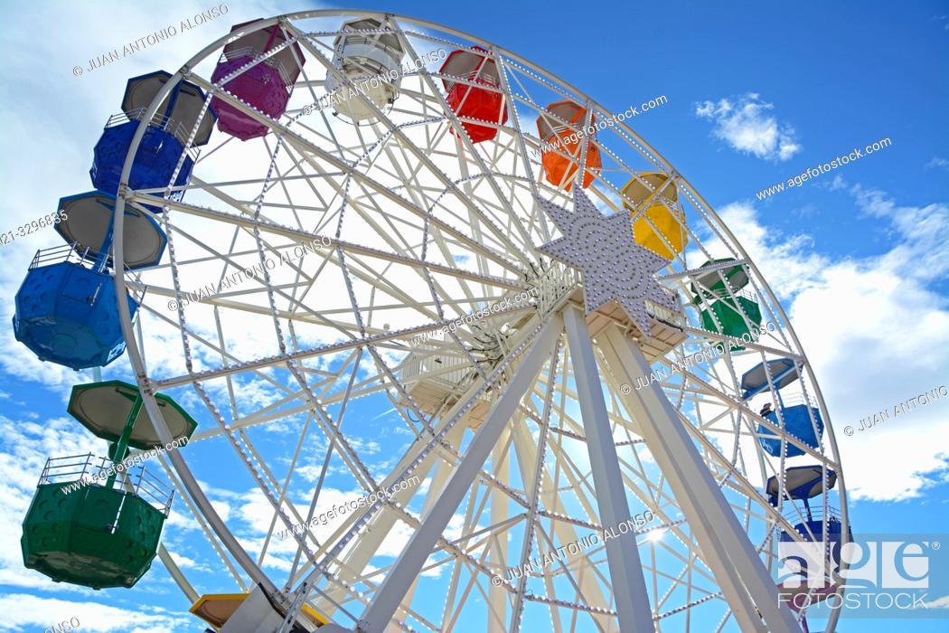 Stock Photo: Big Wheel in the Tibidabo Amusement Park, Collserola mountain range, Barcelona, Catalonia, Spain, Europe.