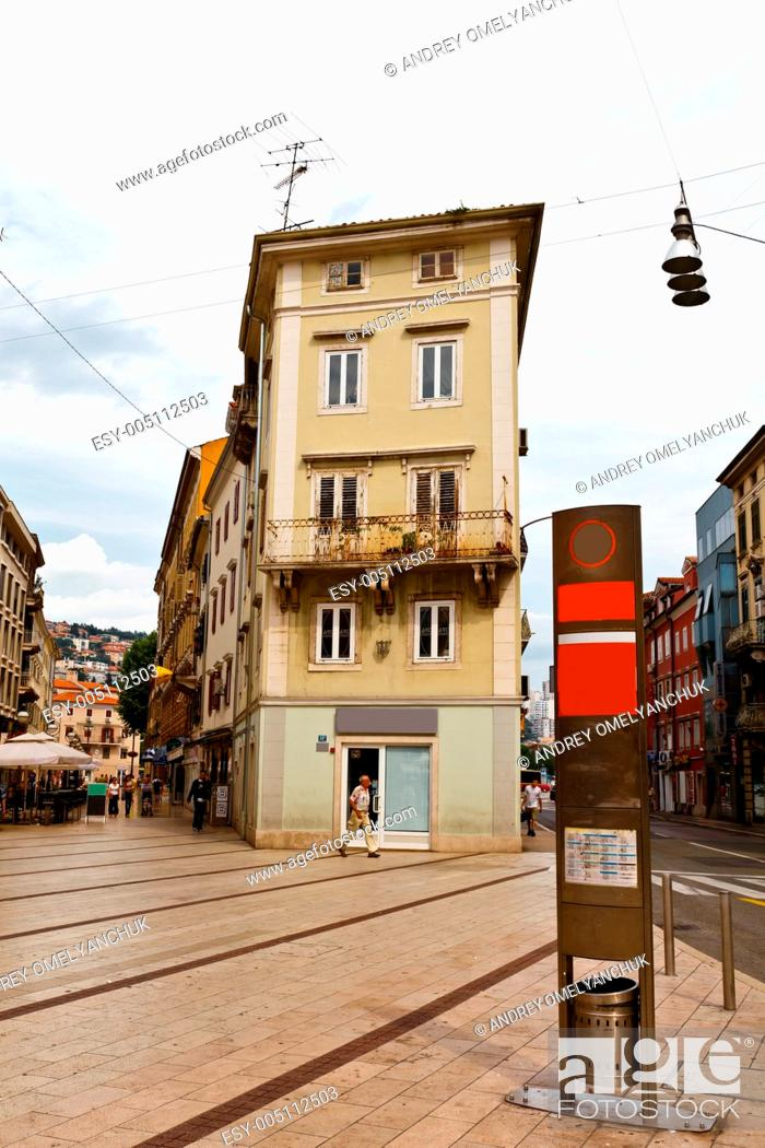 Stock Photo: Square in the Downtown of Rijeka in Croatia.
